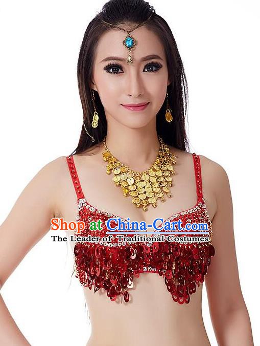 Indian Bollywood Belly Dance Red Sequin Brassiere Asian India Oriental Dance Costume for Women