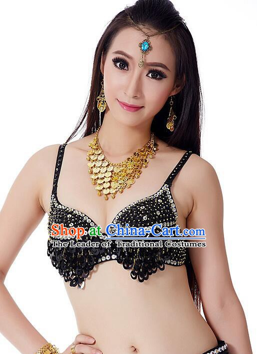 Indian Bollywood Belly Dance Black Sequin Brassiere Asian India Oriental Dance Costume for Women