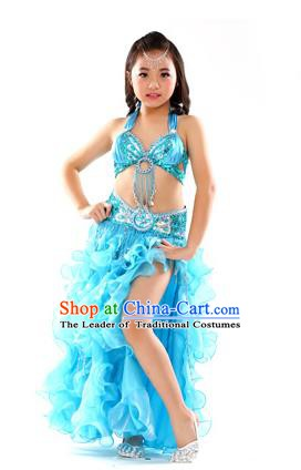 Traditional Indian Children Stage Performance Blue Dress Oriental Belly Dance Costume for Kids