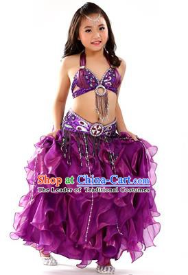 Traditional Indian Children Stage Performance Purple Dress Oriental Belly Dance Costume for Kids