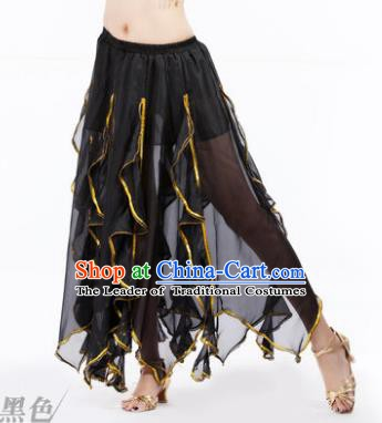 Traditional Indian Belly Dance Black Ruffled Skirt India Oriental Dance Costume for Women