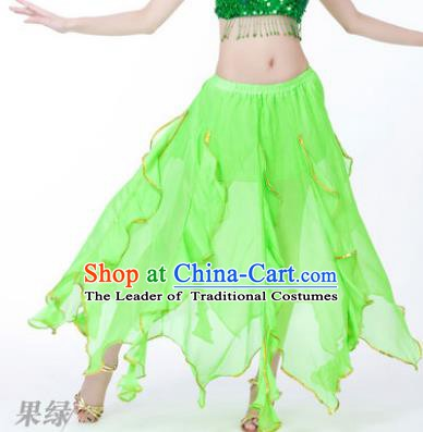 Traditional Indian Belly Dance Light Green Ruffled Skirt India Oriental Dance Costume for Women