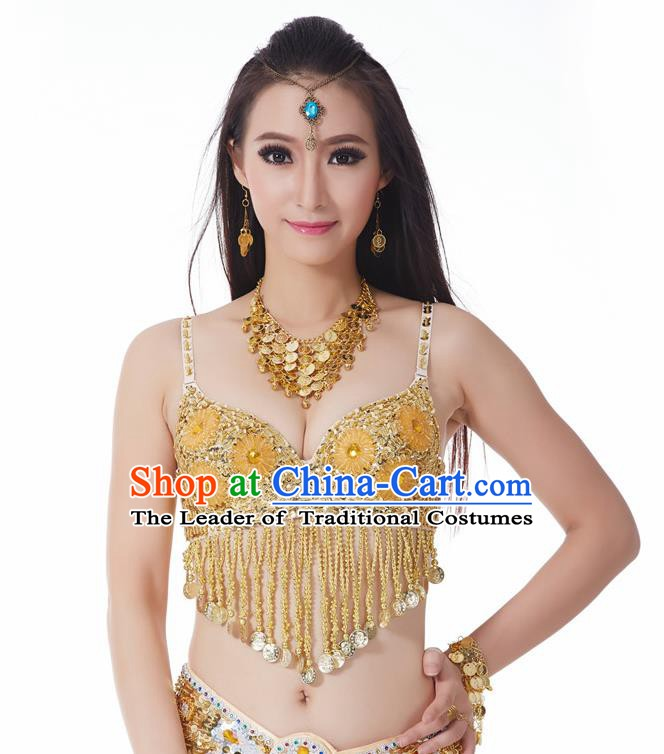 Indian Belly Dance Flowers Golden Brassiere Asian India Oriental Dance Costume for Women