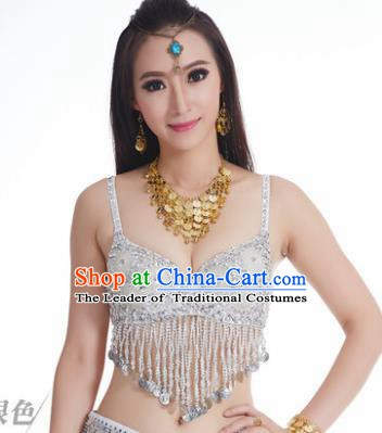 Indian Belly Dance Flowers White Brassiere Asian India Oriental Dance Costume for Women