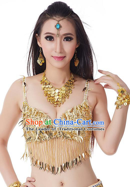 Indian Belly Dance Golden Beading Brassiere Asian India Oriental Dance Costume for Women