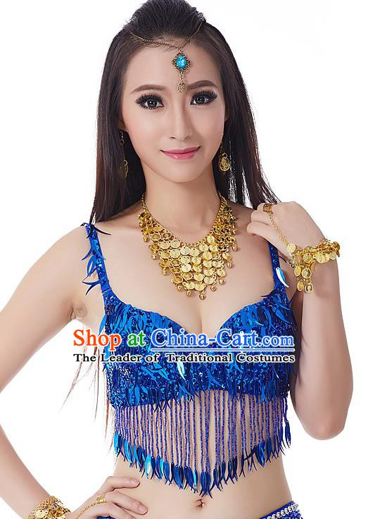 Indian Belly Dance Royalblue Beading Brassiere Asian India Oriental Dance Costume for Women