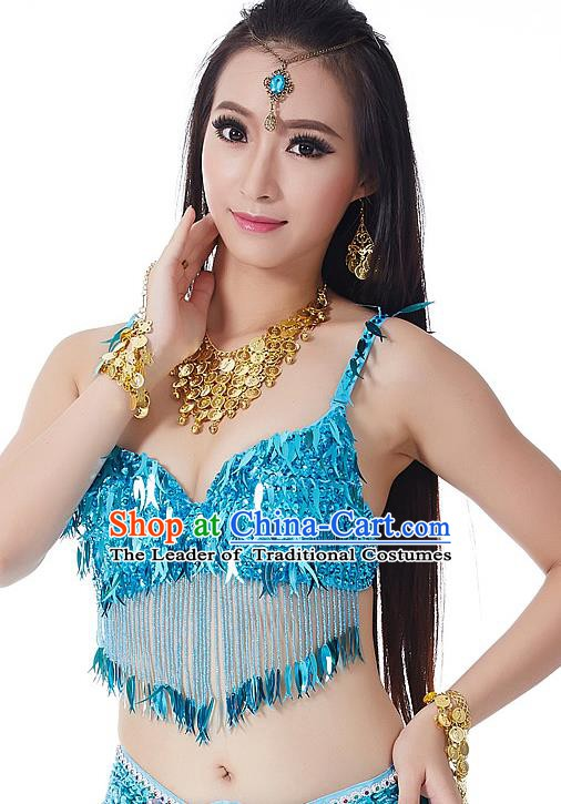 Indian Belly Dance Blue Beading Brassiere Asian India Oriental Dance Costume for Women