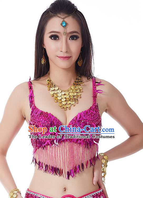 Indian Belly Dance Rosy Beading Brassiere Asian India Oriental Dance Costume for Women