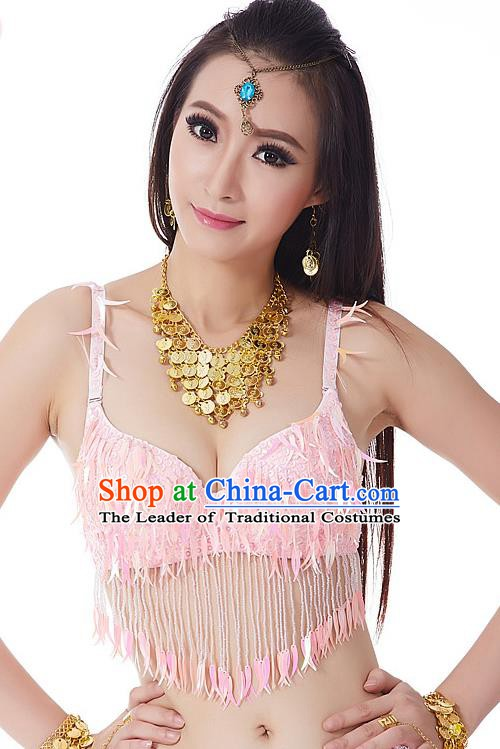 Indian Belly Dance Pink Beading Brassiere Asian India Oriental Dance Costume for Women