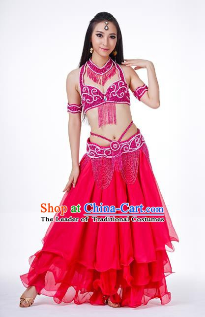 Traditional Oriental Dance Costume Indian Belly Dance Rosy Dress for Women