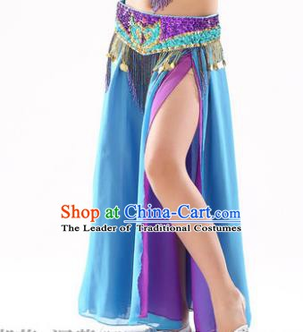 Traditional Indian Children Stage Dance Blue Skirt Belly Dance Costume for Kids