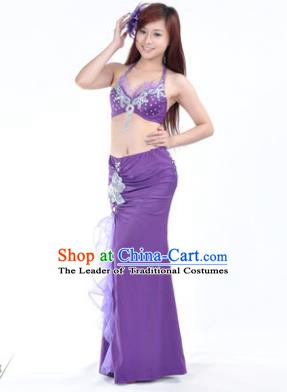 Traditional Indian Stage Oriental Dance Purple Dress Belly Dance Costume for Women