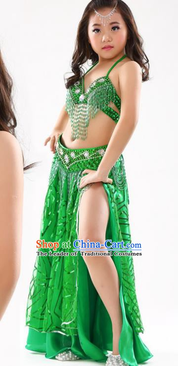 Traditional Indian Children Oriental Dance Green Dress Belly Dance Costume for Kids