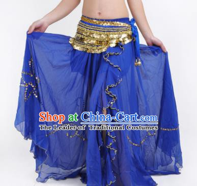 Indian Belly Dance Stage Performance Costume, India Oriental Dance Royalblue Skirt for Women
