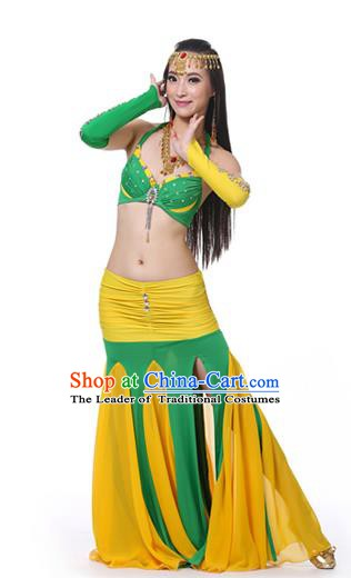 Asian Indian Bollywood Belly Dance Costume Stage Performance Oriental Dance Green and Yellow Dress for Women