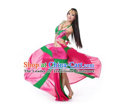 Asian Indian Bollywood Belly Dance Costume Stage Performance Oriental Dance Rosy and Green Dress for Women