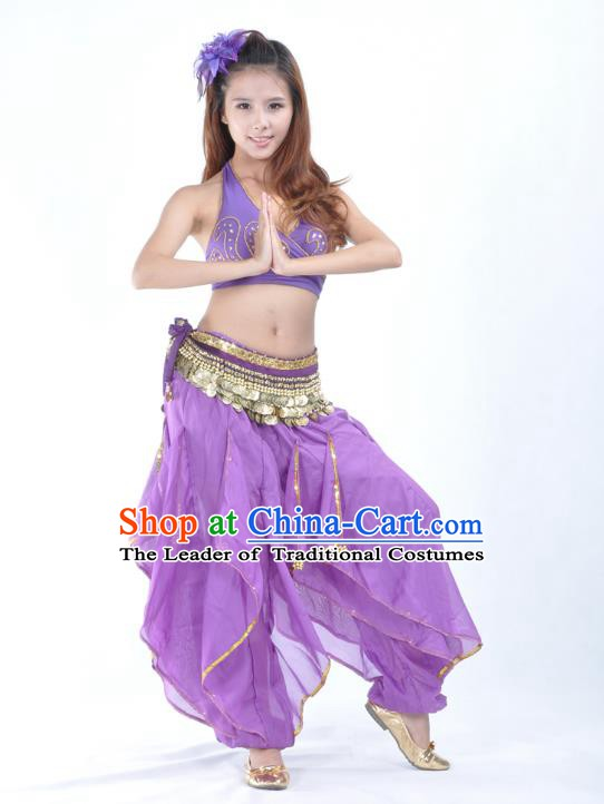 Asian Indian Traditional Costume Belly Dance Stage Performance Oriental Dance Purple Clothing for Women