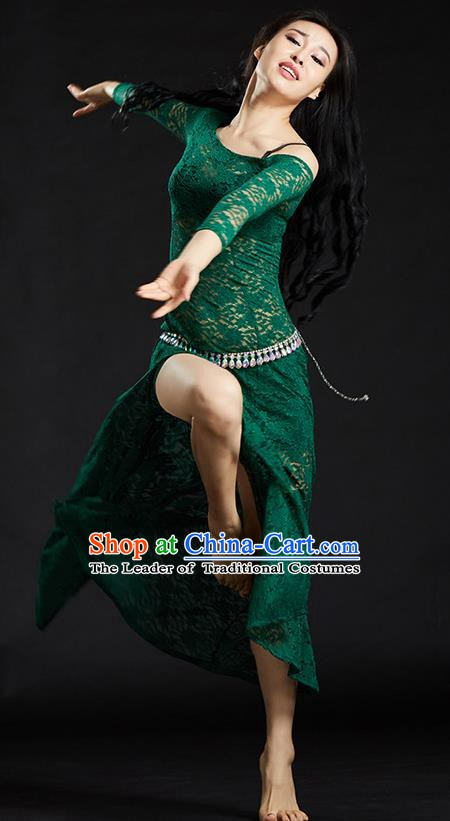 Asian Indian Traditional Costume Belly Dance Stage Performance Green Lace Dress for Women