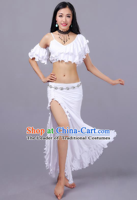 Asian Indian Traditional Oriental Dance Costume Belly Dance Stage Performance White Dress for Women