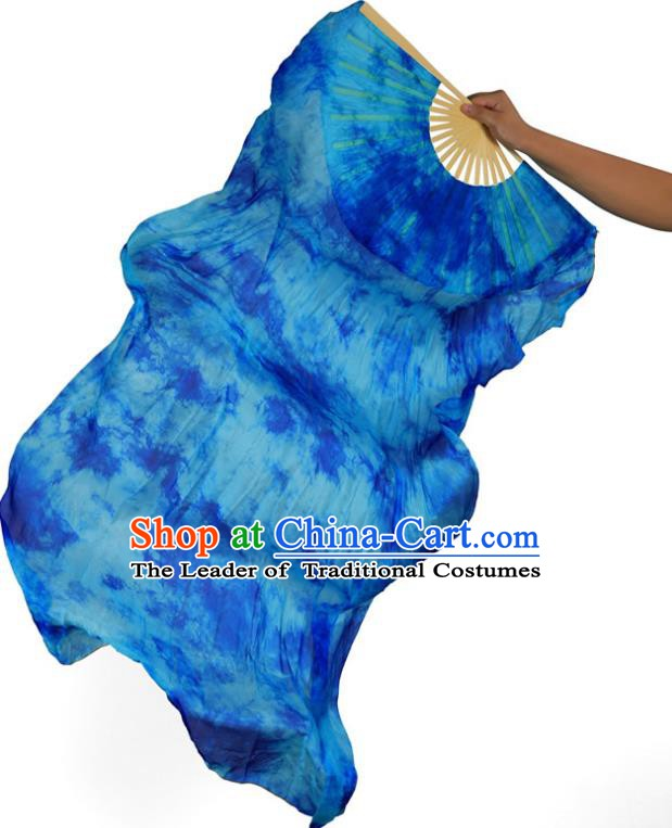 Indian Belly Dance Props Blue Silk Folding Fans Stage Performance Dance Fan for Women
