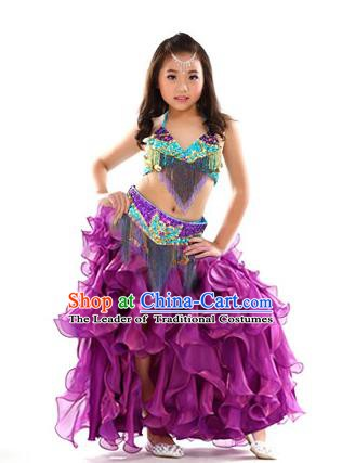 Asian Indian Belly Dance Costume Stage Performance Oriental Dance Purple Dress for Kids