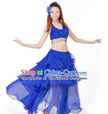 Indian Traditional Dance Royalblue Dress Oriental Belly Dance Stage Performance Costume for Women