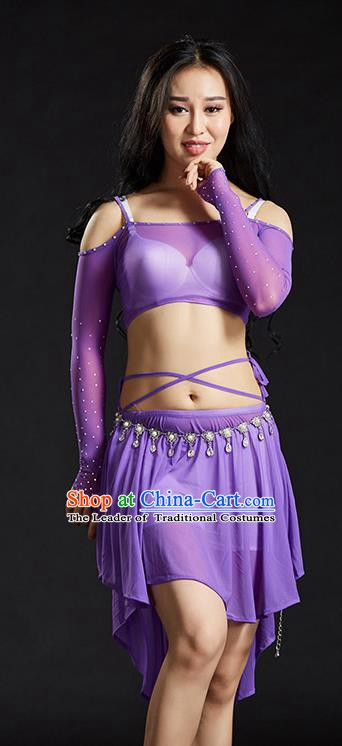 Indian Belly Dance Purple Dress Classical Traditional Oriental Dance Performance Costume for Women