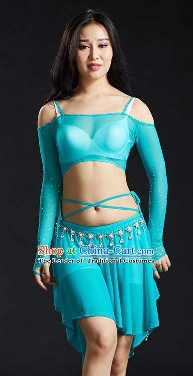 Indian Belly Dance Light Blue Dress Classical Traditional Oriental Dance Performance Costume for Women
