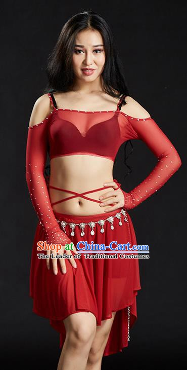 Indian Belly Dance Red Dress Classical Traditional Oriental Dance Performance Costume for Women
