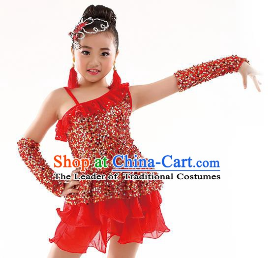 Top Latin Dance Performance Sequin Costume Traditional Children Modern Dance Red Dress for Kids