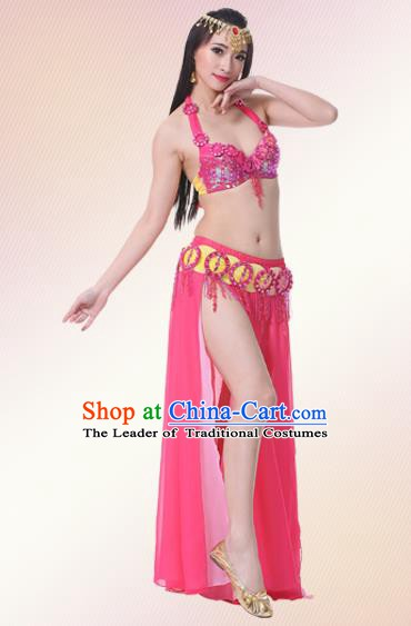 Indian Oriental Belly Dance Performance Rosy Dress Traditional Raks Sharki Dance Costume for Women