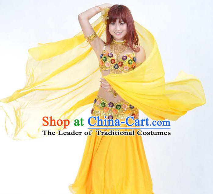 Indian Traditional Belly Dance Performance Costume Classical Oriental Dance Yellow Dress for Women