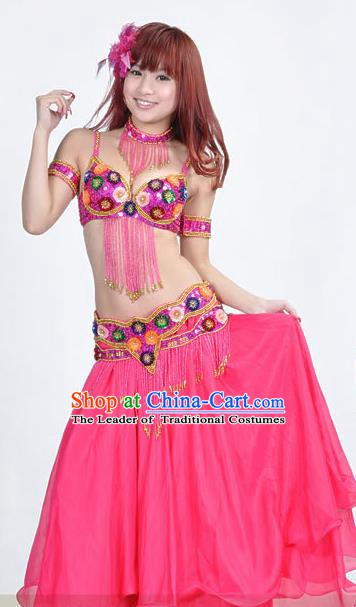Indian Traditional Belly Dance Performance Costume Classical Oriental Dance Rosy Dress for Women