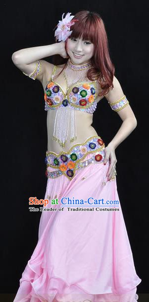 Indian Traditional Belly Dance Performance Costume Classical Oriental Dance Pink Dress for Women