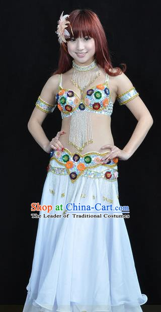 Indian Traditional Belly Dance Performance Costume Classical Oriental Dance White Dress for Women
