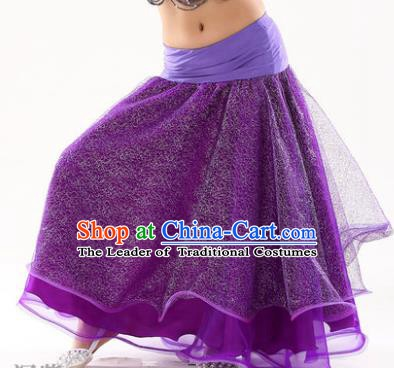 Indian Traditional Belly Dance Performance Costume Purple Skirt Classical Oriental Dance Clothing for Kids