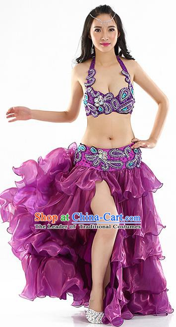 Indian Traditional Belly Dance Performance Purple Dress Classical Oriental Dance Costume for Women