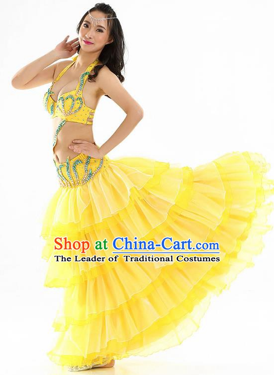 Indian Traditional Belly Dance Performance Yellow Dress Classical Oriental Dance Costume for Women