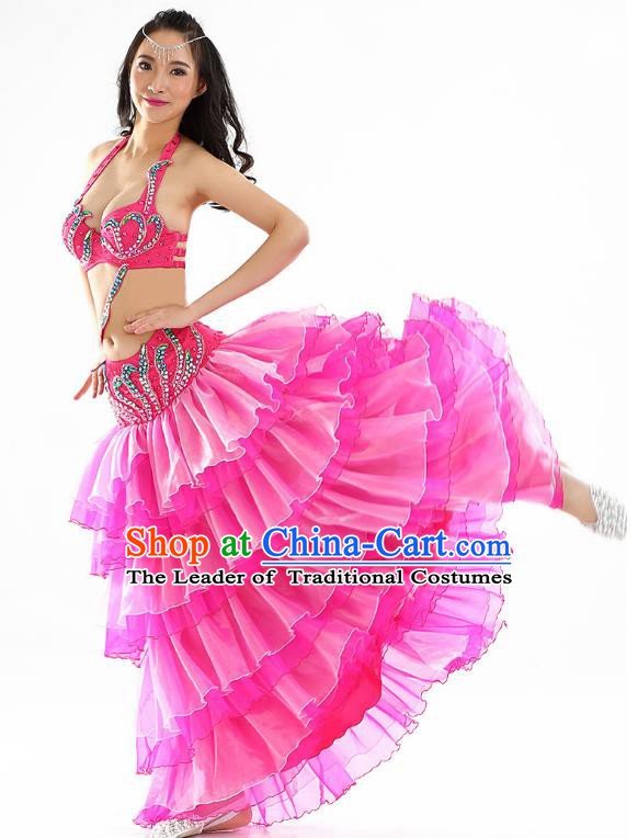 Indian Traditional Belly Dance Performance Rosy Dress Classical Oriental Dance Costume for Women