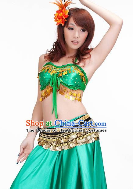 Indian Belly Dance Green Dress Classical Traditional Oriental Dance Performance Costume for Women