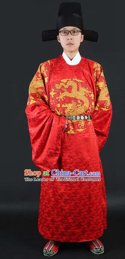 Ancient Chinese Ming Dynasty Minister Costume Red Gwanbok for Men