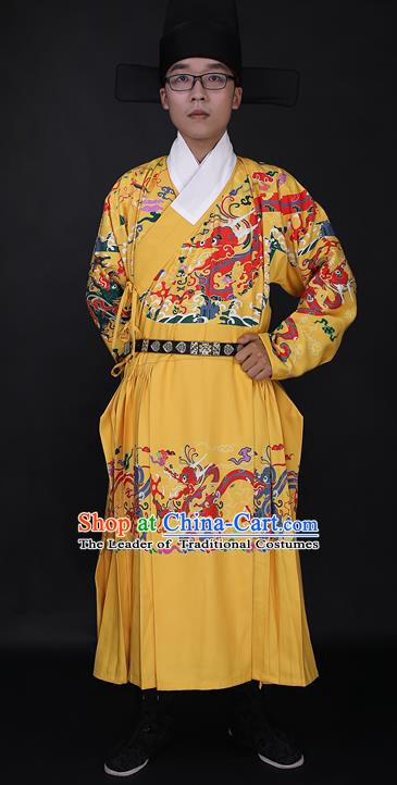 Chinese Ancient Imperial Bodyguard Yellow Robe Costume Ming Dynasty Swordsman Clothing for Men