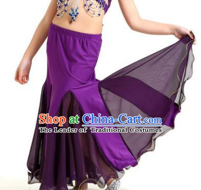 Asian Indian Belly Dance Purple Fishtail Skirt Stage Performance Oriental Dance Clothing for Kids