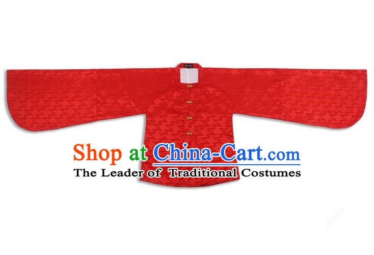Chinese Ancient Ming Dynasty Palace Lady Costume Red Blouse Hanfu Clothing for Women