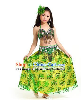Asian Indian Children Belly Dance Green Dress Stage Performance Oriental Dance Clothing for Kids