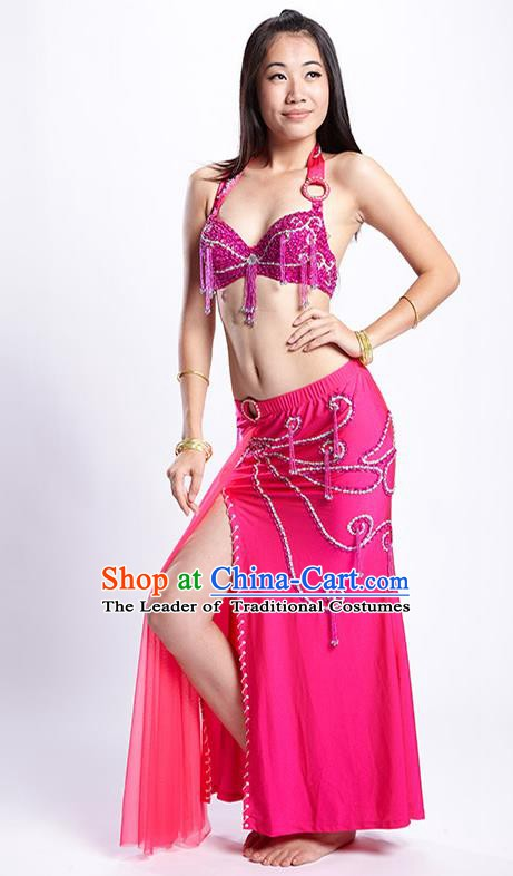 Top Grade Performance Clothing Belly Dance Rosy Dress Indian Oriental Dance Costume for Women