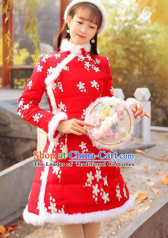 Traditional Chinese National Embroidered Red Dress Tangsuit Cotton-padded Cheongsam Clothing for Women