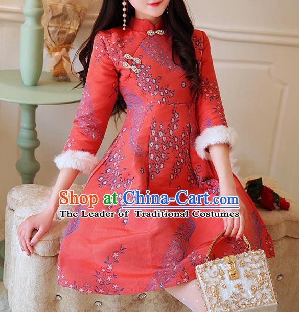 Chinese National Tangsuit Red Qipao Dress Printing Cheongsam Clothing for Women