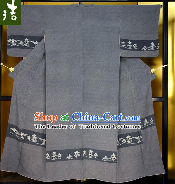 Japanese Traditional Male Kimono Clothing Grey Haori Kimonos Yukata Robe for Men