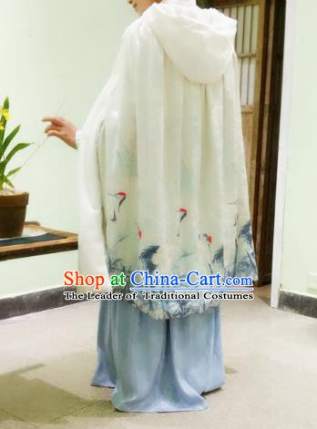 Chinese Ancient Ming Dynasty Princess Costume Printing Cranes Mantle White Long Cloak for Women